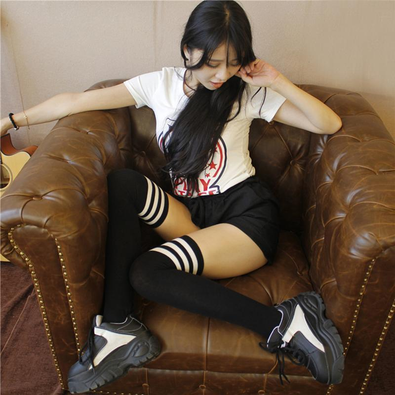 Striped Thigh High Over Knee School Socks [7 Colors]