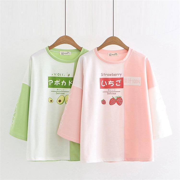 Sweet Strawberry & Avocado Summer T-Shirt Japanese Short Sleeve Top