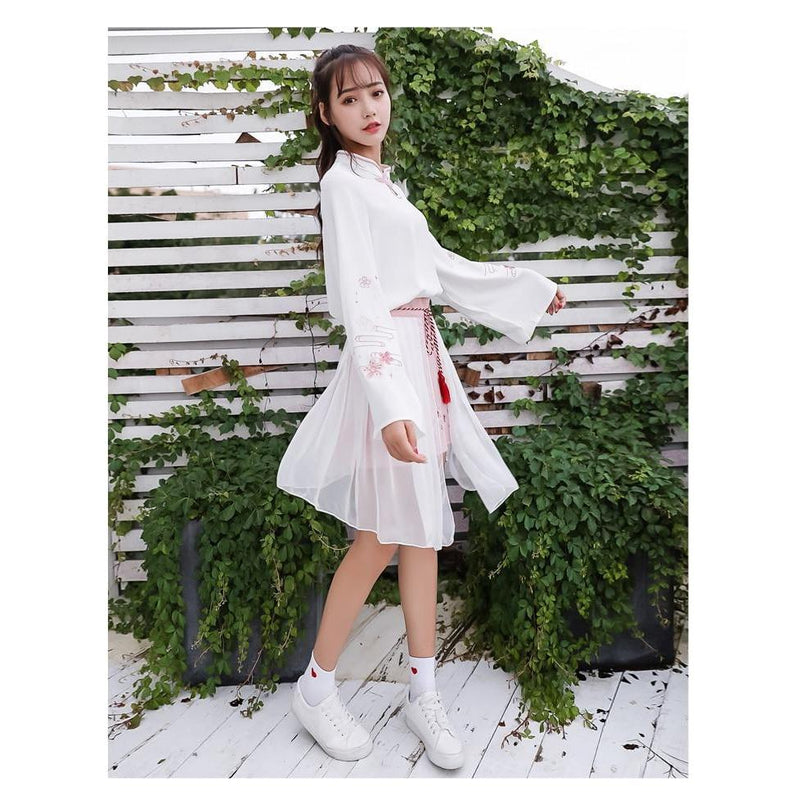 Two Piece Floral Eembroidery Long Sleeve Blouse and Mesh Skirt Kawii Dress