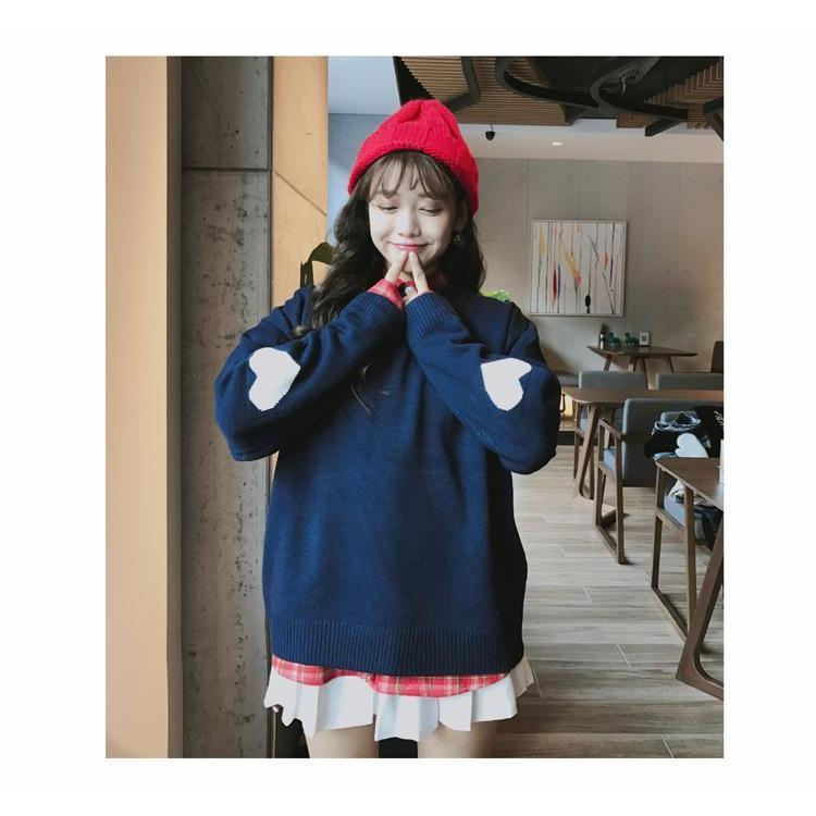 Warm Pastel Harajuku Heart Sleeve Sweater Pullover [4 Colors]