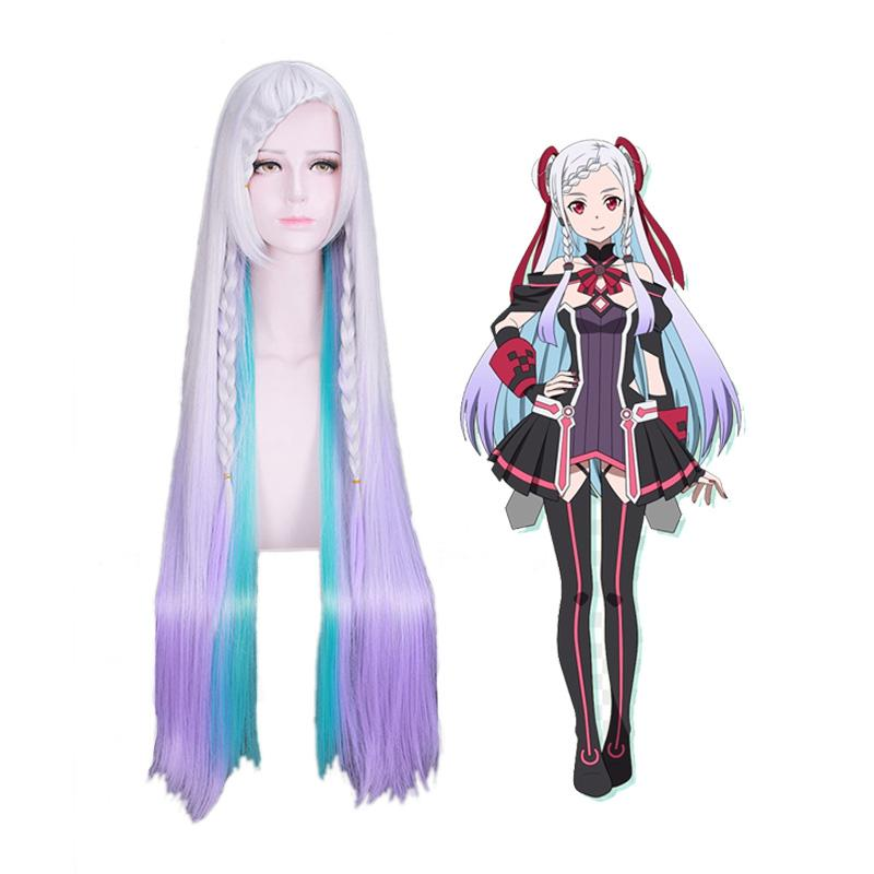 Anime SAO Sword Art Online Ordinal Scale Yuna Long Mixed Purple Cosplay Wigs