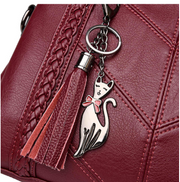 Leather Handbag with Cat Key-ring