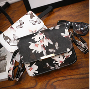 Feminine botanical print shoulder bag