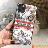 Christian Dior Style Palm Tree Shockproof Protective Designer iPhone Case For iPhone SE 11 Pro Max X XS Max XR 7 8 Plus