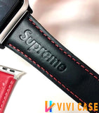 MORE COLORS Supreme Style Stitch Leather Compatible With Apple Watch 38mm 40mm 42mm 44mm Band Strap For iWatch Series 4/3/2/1