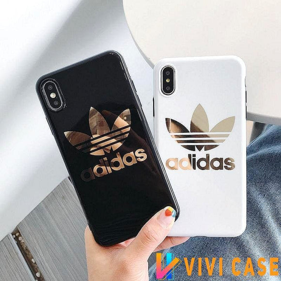 Adidas Style Electroplating Silicone Glossy Designer iPhone Case For SE 11 Pro Max X XS XR 7 8 Plus