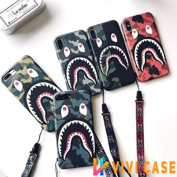 iPhone Case Bape Style Camouflage Shark Mouth Matte Silicone Designer iPhone Case