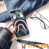 iPhone Case Black / iphone 7 8 Bape Style Camouflage Shark Mouth Matte Silicone Designer iPhone Case