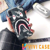 iPhone Case Gray / iphone 7 8 Bape Style Camouflage Shark Mouth Matte Silicone Designer iPhone Case