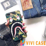 iPhone Case Green / iphone 7 8 Bape Style Camouflage Shark Mouth Matte Silicone Designer iPhone Case