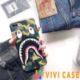 iPhone Case GreenandStrap / iphone 7 8 Bape Style Camouflage Shark Mouth Matte Silicone Designer iPhone Case