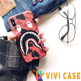 iPhone Case Red / iphone 7 8 Bape Style Camouflage Shark Mouth Matte Silicone Designer iPhone Case