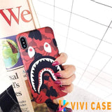 iPhone Case RedandStrap / iphone 7 8 Bape Style Camouflage Shark Mouth Matte Silicone Designer iPhone Case