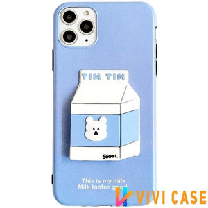 Bear Milk 3D Box Silicone Shockproof Protective Designer iPhone Case For 11 Pro Max X XS XR 7 8 Plus