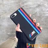 BMW Style M Series Glossy Silicone Designer iPhone Case For X XS Max XR 7 8 Plus - ColorStripe