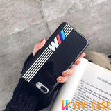 BMW Style M Series Glossy Silicone Designer iPhone Case For X XS Max XR 7 8 Plus - WhiteStripe
