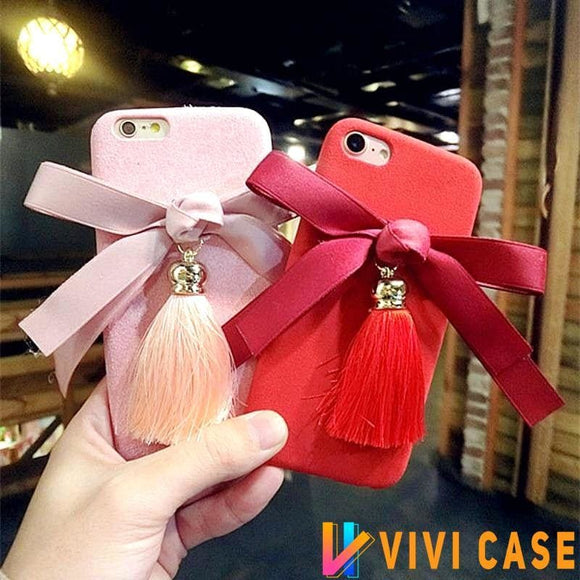Bow Tie Ribbon Tassels Pendant Soft Silicone TPU Designer iPhone Case For X XS Max XR