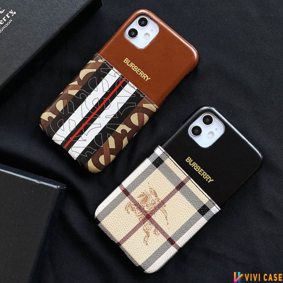 Burberry Style Luxury Leather Cardholder Wallet Protective Designer iPhone Case For SE 11 Pro Max X XS XR 7 8 Plus