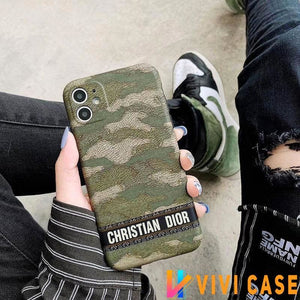 Christian Dior Style Camouflage Shockproof Protective Designer iPhone Case For SE 11 Pro Max X XS XR 7 8 Plus