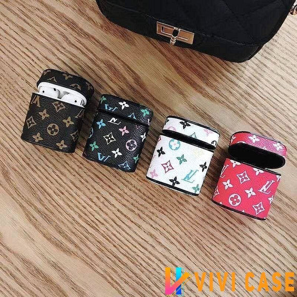 AirPods Case Classic Louis Vuitton Style Monogram Leather AirPods Case 1 2