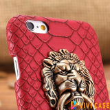 MORE COLORS Luxury Lion Head Fashion Snake Red Leather Kickstand Designer iPhone Case For X