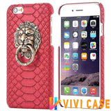 MORE COLORS Luxury Lion Head Fashion Snake Red Leather Kickstand Designer iPhone Case For X - red / for iphone 7