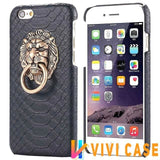 MORE COLORS Luxury Lion Head Fashion Snake Red Leather Kickstand Designer iPhone Case For X - black / for iphone 7