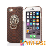 MORE COLORS Luxury Lion Head Fashion Snake Red Leather Kickstand Designer iPhone Case For X - brown / for iphone 7