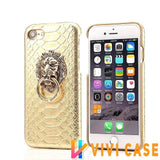 MORE COLORS Luxury Lion Head Fashion Snake Red Leather Kickstand Designer iPhone Case For X - gold / for iphone 7