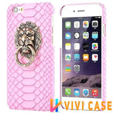 MORE COLORS Luxury Lion Head Fashion Snake Red Leather Kickstand Designer iPhone Case For X - pink / for iphone 7