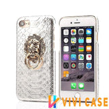 MORE COLORS Luxury Lion Head Fashion Snake Red Leather Kickstand Designer iPhone Case For X - Silver / for iphone 7