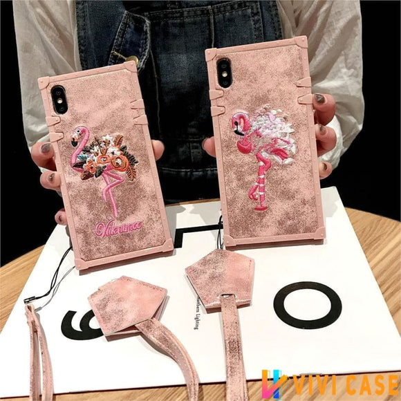 Cute 3D Embroidered Flamingo Trunk Silicone Designer iPhone Case With Lanyard For X XS XR Max