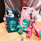 Cute Dinosaur Matte Soft Silicone TPU Kickstand Designer iPhone Case With Strap For X XS XR Max