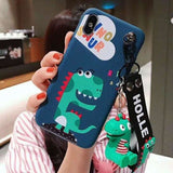 Cute Dinosaur Matte Soft Silicone TPU Kickstand Designer iPhone Case With Strap For X XS XR Max - blue / for 7