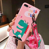 Cute Dinosaur Matte Soft Silicone TPU Kickstand Designer iPhone Case With Strap For X XS XR Max - pink / for 7
