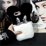 Cute Disney Style Mickey Minnie Diamond Lovely Fur Fluffy Designer iPhone Case For X XS XR Max - 11 / 7plus 8plus