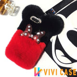 Cute Disney Style Mickey Minnie Diamond Lovely Fur Fluffy Designer iPhone Case For X XS XR Max
