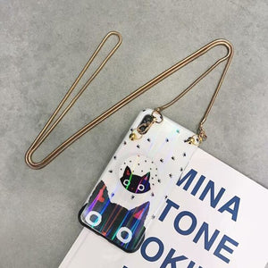 Cute Pig Cat Blue Ray Tempered Glass iPhone Case With Lanyard Strap Pop Socket En Chain For X XS Max XR
