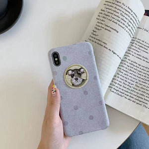 Cute Schnauzer Polka Dots Alcantara Shockproof Protective Designer iPhone Case For SE 11 Pro Max X XS XR 7 8 Plus