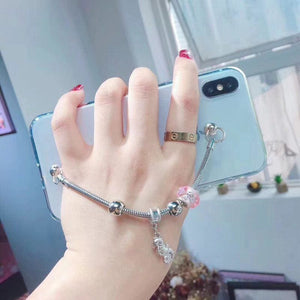 Diamond Metal Jewel Chain Bracelet Luxury Transparent Silicone Designer iPhone Case For X XS Max XR