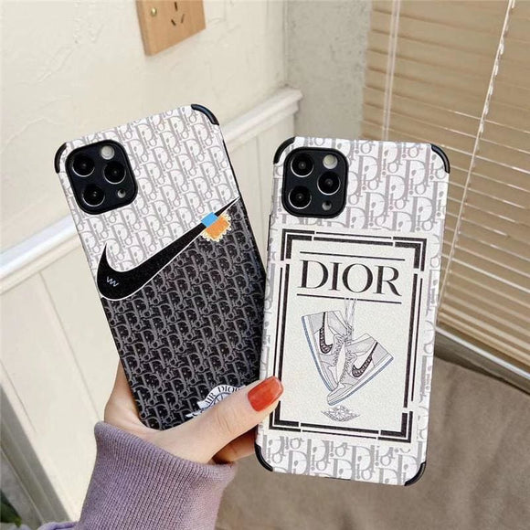 Dior x Nike Style Leather Designer iPhone Case For All Models - IPhone 12