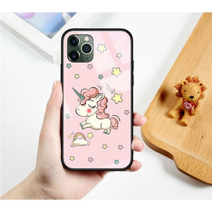 Dreamy Unicorn Tempered Glass Designer iPhone Case For SE 11 Pro Max X XS XR 7 8 Plus