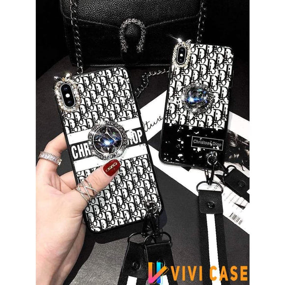 Iphone 11 Fashion Dior Style Rhinestone Bracket Silica Gel Designer iPhone Case For Iphone 11 Pro Max X XS XS MAX XR 7 8 Plus