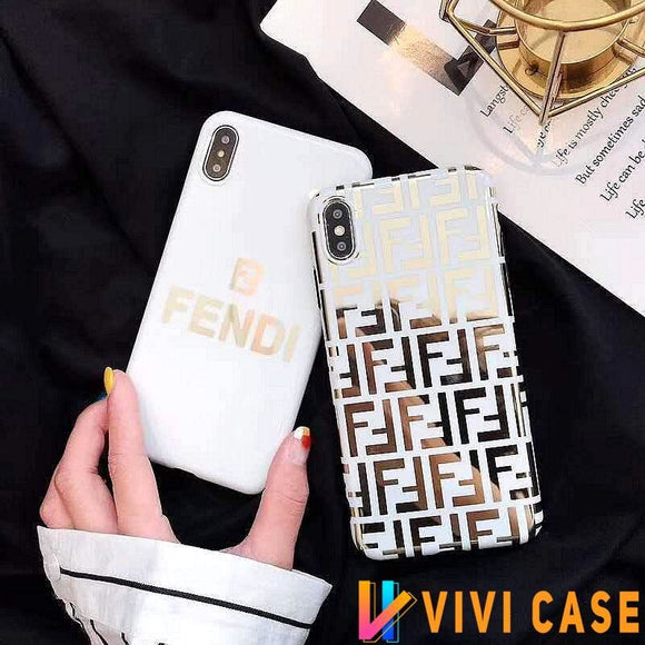 Fendi Style Electroplating Glossy TPU Silicone Designer iPhone Case For SE 11 Pro Max X XS XR 7 8 Plus