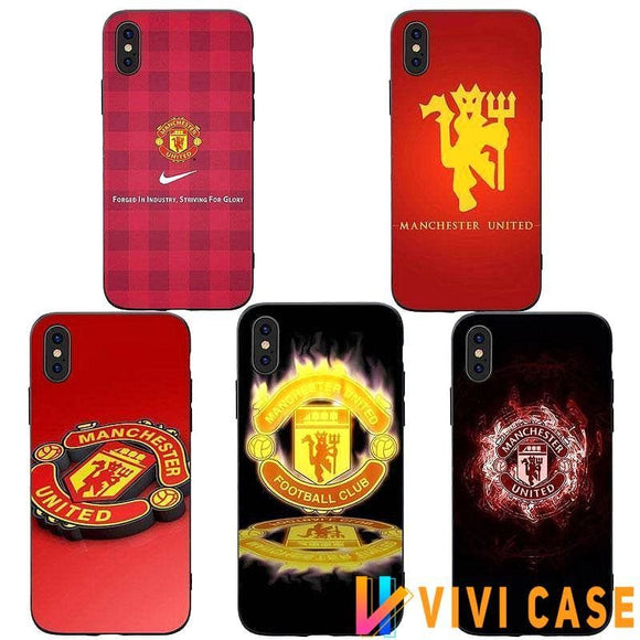 Football Clup Manchester United MANU MU ManUtd MUFC Style Soft TPU Protective Case for iPhone 7 8 Plus X XS XR max