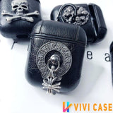 Gothic Chrome Heart Style Skull Wing Black Leather Protective Shockproof Case For Apple Airpods 1 & 2 - AirPods