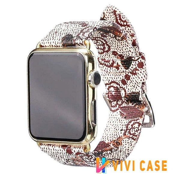 Watch Bands Gucci Style Bee Leather Apple Watch Band Strap For Series 4/3/2/1