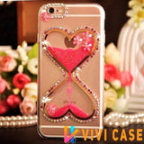 Heart Rhinestone Liquid Glitter Quicksand Diamond Silicone Transparent Designer iPhone Case With Pearl Lanyard For X XS Max XR