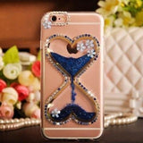 Heart Rhinestone Liquid Glitter Quicksand Diamond Silicone Transparent Designer iPhone Case With Pearl Lanyard For X XS Max XR - Blue / for