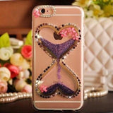 Heart Rhinestone Liquid Glitter Quicksand Diamond Silicone Transparent Designer iPhone Case With Pearl Lanyard For X XS Max XR - Purple /